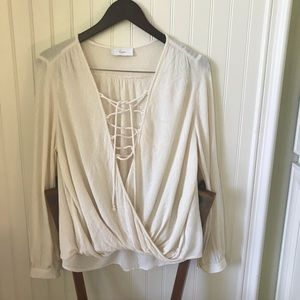 Braeve for Evereve ivory laceup women's size M top